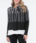 One Button Cropped Sweater Jacket, Black/Grey, hi-res