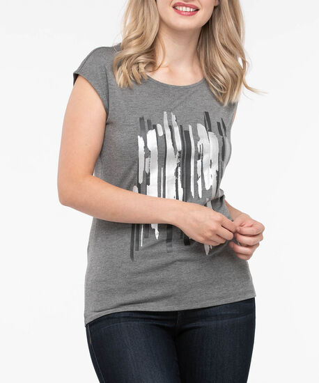 Extended Sleeve Scoop Neck Top, Mid Heather Grey/Silver, hi-res