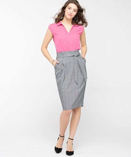 Paperbag Waist Pencil Skirt, Black/Pearl, hi-res