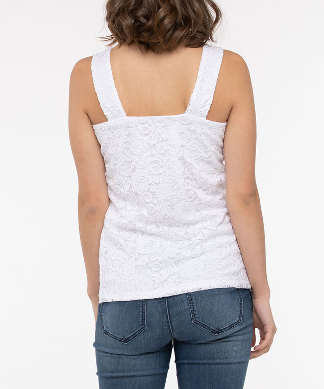 Sleeveless Square Neck Lace Top, Pearl, hi-res