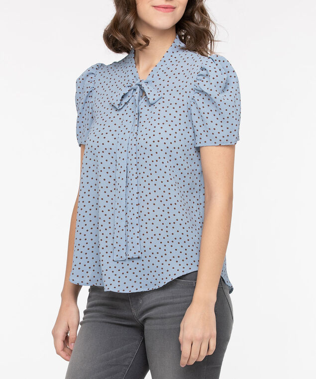 Polka Dot Neck Tie Blouse, Light Blue/Brown, hi-res
