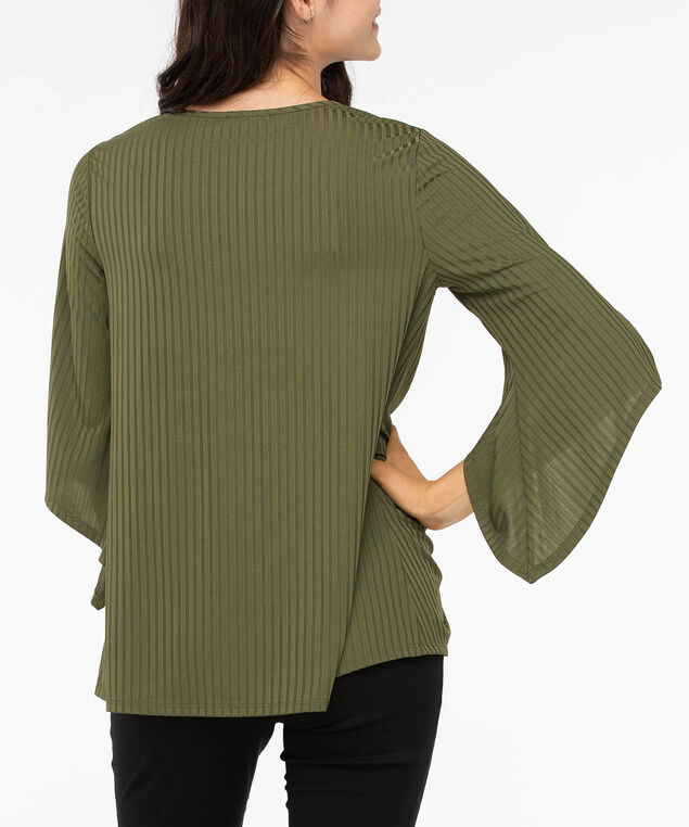 Split Sleeve Ruched Front Top, Autumn Olive, hi-res