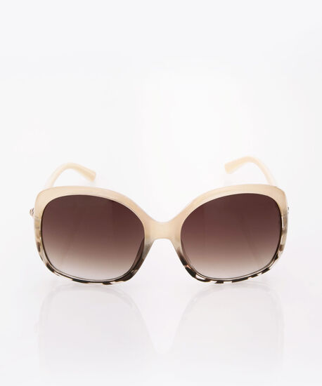 Square Ombre Print Sunglasses, Ivory/Brown/Gold, hi-res