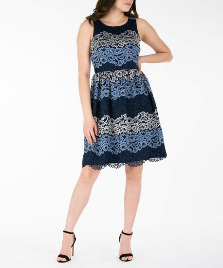 Lace Overlay Fit & Flare Dress, Navy/Blue/Silver, hi-res