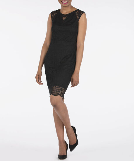 Sleeveless Lace Illusion Neck Dress, Black, hi-res