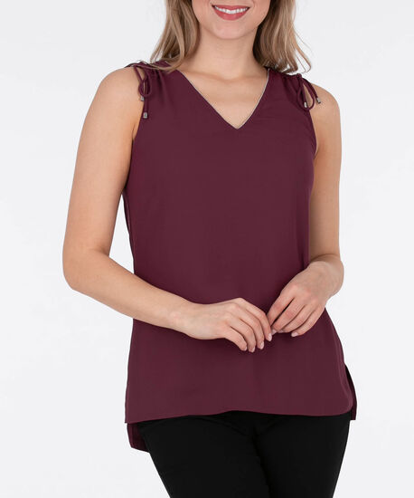 Sleeveless Drawstring Shoulder Top, Black Cherry, hi-res