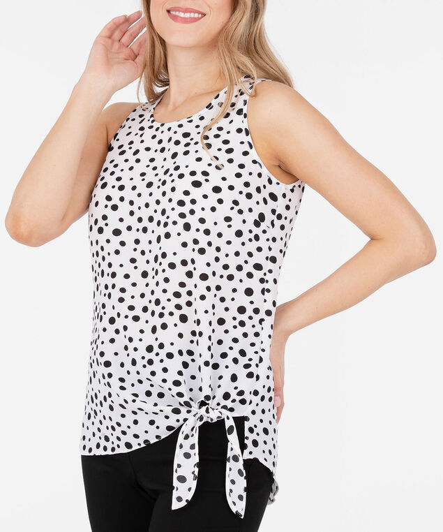 Sleeveless Side Tie Blouse, White/Black, hi-res