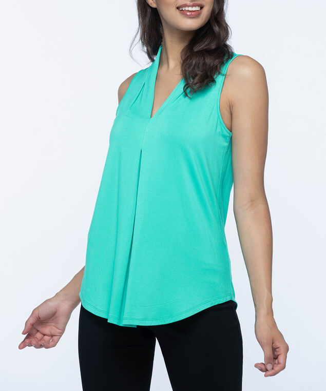 Sleeveless Pleat Front V-Neck Top, Soft Teal, hi-res