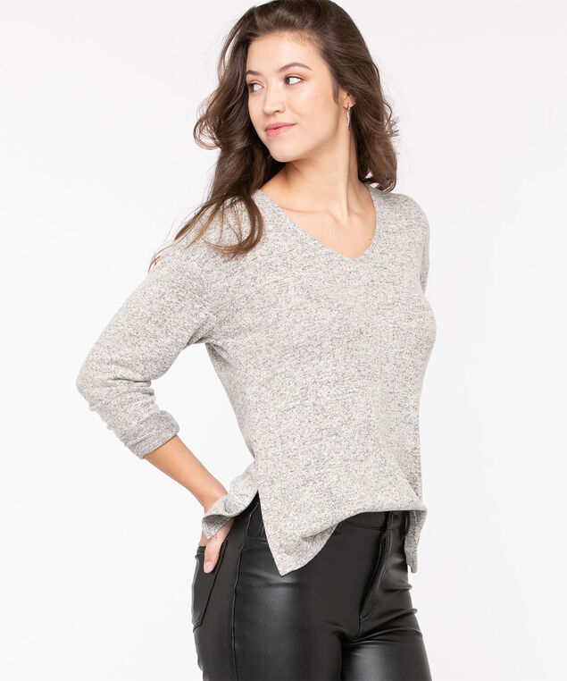 Double-V Tab Back Knit Top, Light Grey Mix, hi-res
