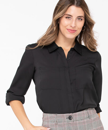 Collared Button Front Blouse, Black, hi-res