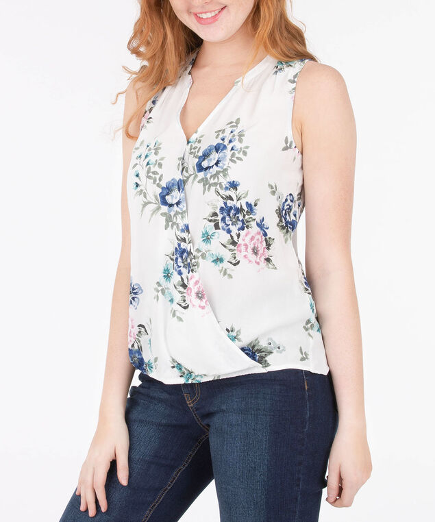 Wrap Front Sleeveless Blouse, White/Pink/Blue, hi-res