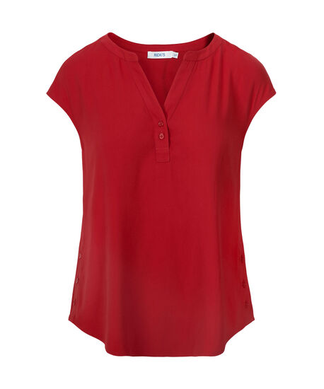 Stretch-Woven Henley Blouse, Poppy Red, hi-res