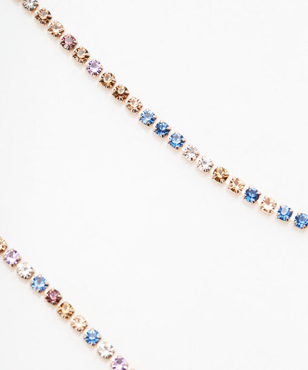 Pastel Rainbow Pave Crystal Necklace, Rose Gold, hi-res