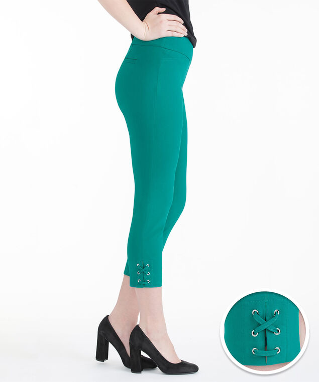 Microtwill Lace-Up Hem Crop, Peacock Green, hi-res