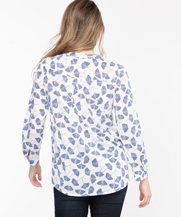 Henley Roll Sleeve Tunic Top, Pristine/Blue Leaves