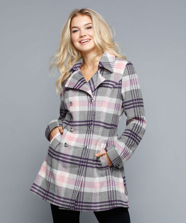 Military Style Plaid Coat, Pink/Purple/Grey, hi-res