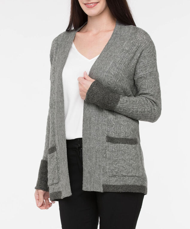 Cable Knit Contrast Trim Cardigan, Grey, hi-res