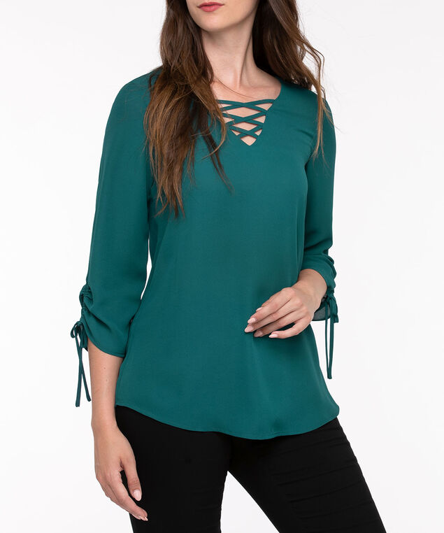 Criss Cross Neck Blouse, Ivy, hi-res