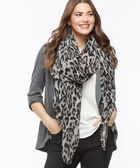 Pleated Leopard Print Oblong Scarf, Black/Grey, hi-res