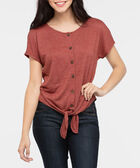 Extended Sleeve Tie Front Top, Rust, hi-res
