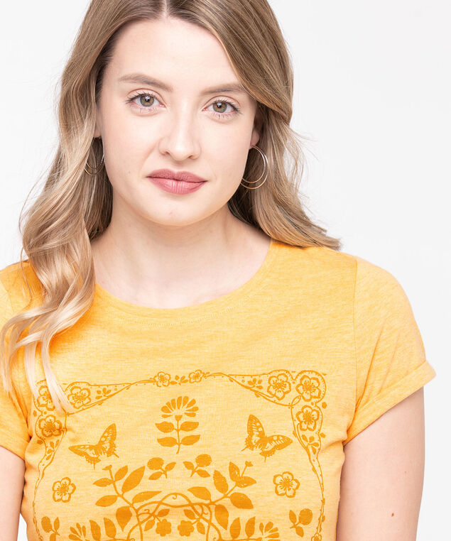 Organic Cotton Boho Print Tee, Harvest Yellow, hi-res