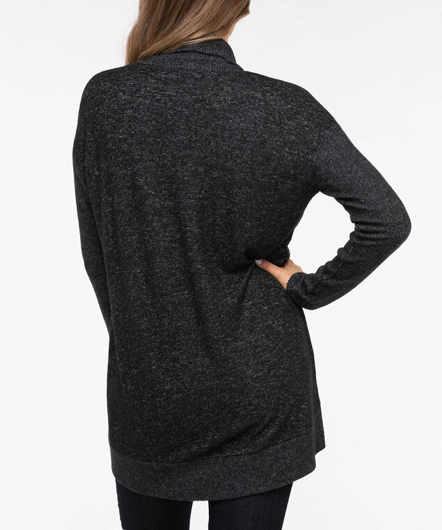 Ribbed Trim Open Cardigan, Mid Heather Charcoal, hi-res