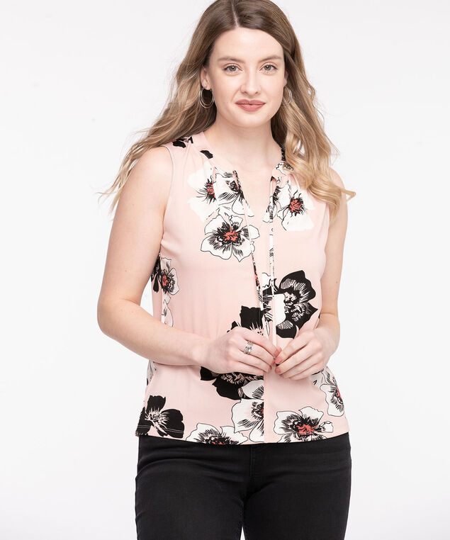 Sleeveless Tie Neck Top, Pink Floral