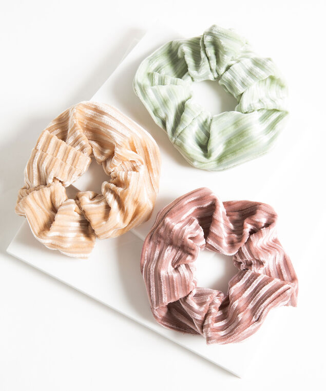Velvet Hair Scrunchie 3-Pack, Green/Beige/Pink Pastel
