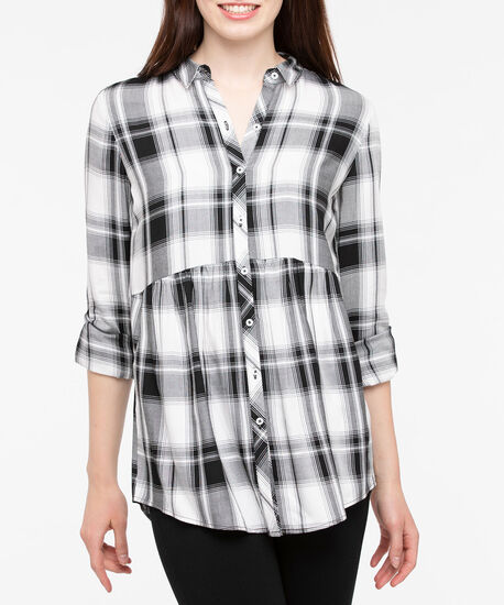 Roll Sleeve Collared Plaid Blouse, Pearl/Black, hi-res