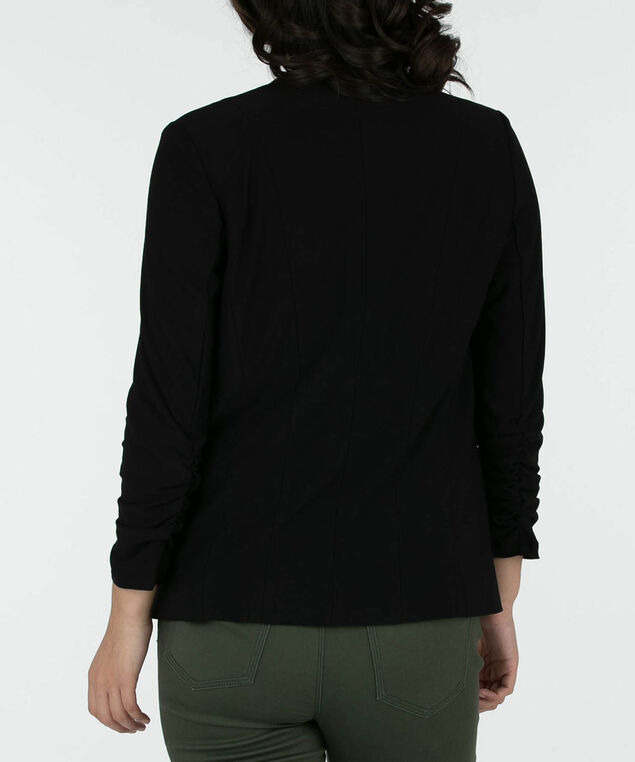 Ruched Sleeve Easy Stretch Blazer, Black, hi-res