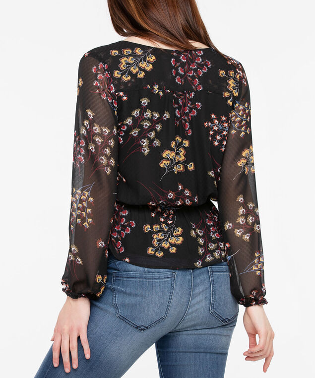 Button Front Peplum Blouse, Black/Marigold/Rust, hi-res