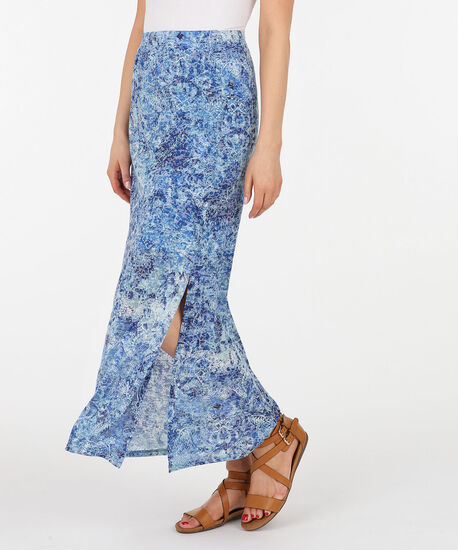 Burnout Side Slit Maxi Skirt, Blue Pt, hi-res