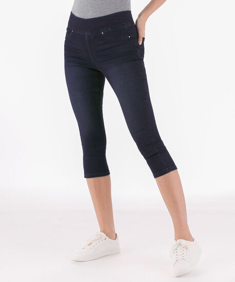 Dark Wash Pull On Capri Jean, Dark Wash, hi-res