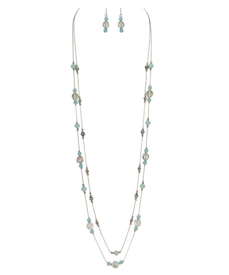 Stationed Faceted Stone Necklace Set, Cool Mint/Rhodium, hi-res