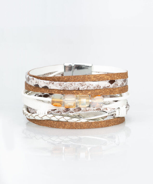 Feather & Faux Leather Wrap Bracelet, White/Brown/Silver, hi-res