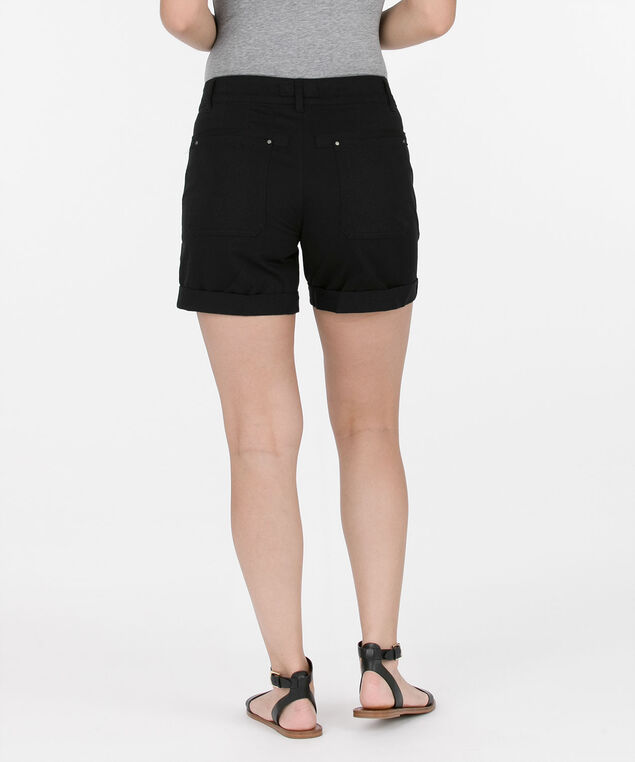 Cuffed Zipper Pocket Shorts, Black, hi-res