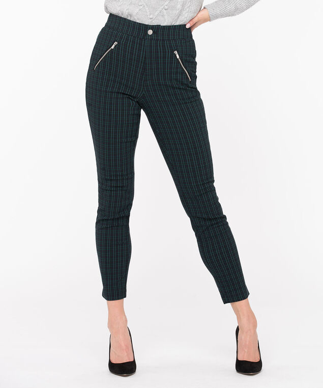Plaid Microtwill Button Front Skinny, Navy Blue/Green, hi-res