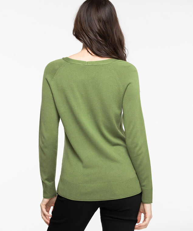 V-Neck Fine Gauge Pullover Sweater, Willow Bough