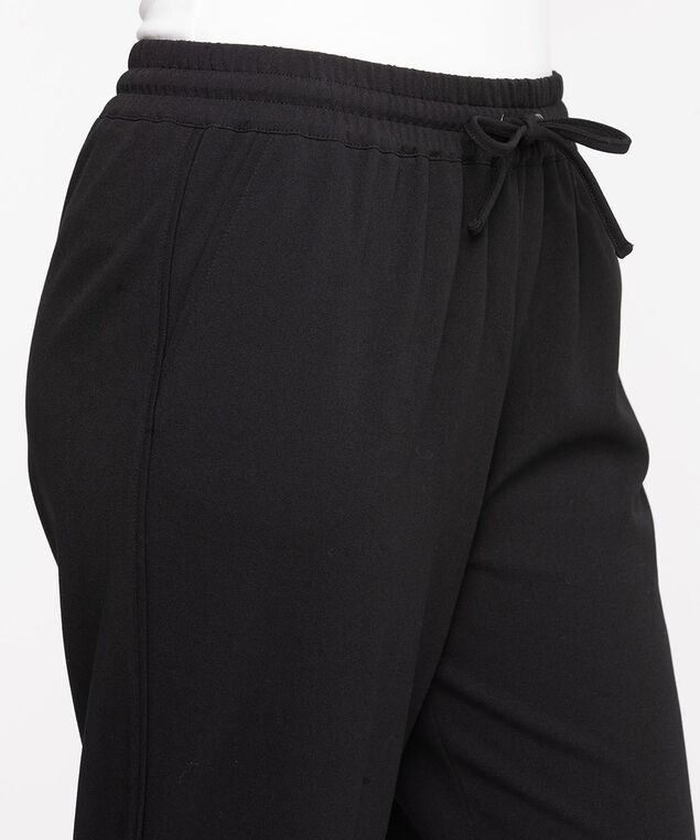 Piping Detailed Crepe Jogger Pant, Black/Black