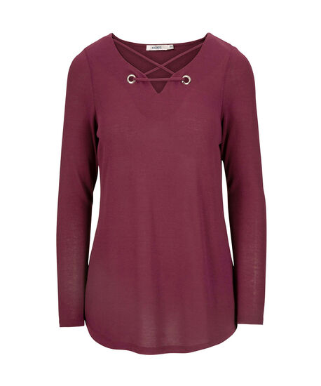 Criss-Cross Grommet Trim Top, Black Cherry, hi-res