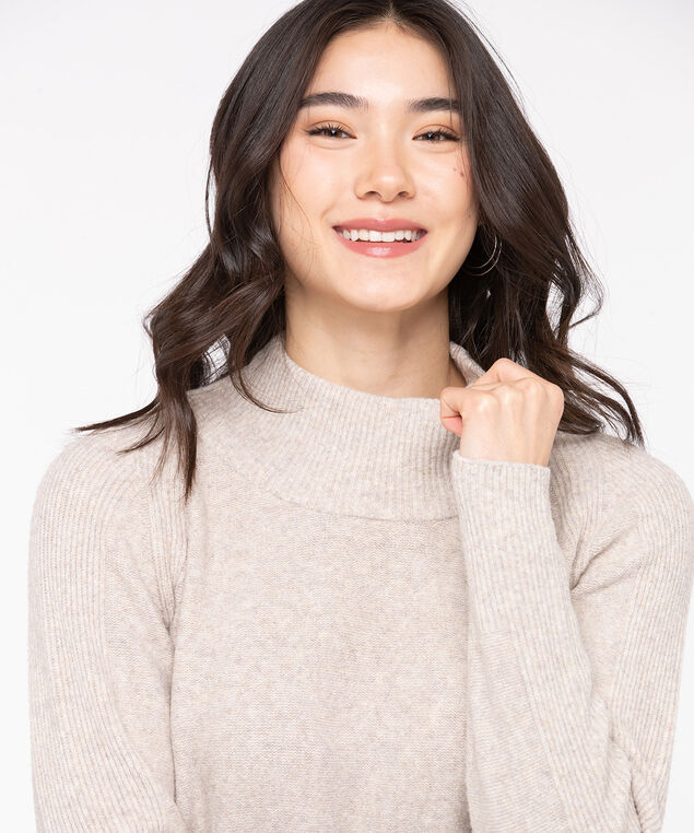 Eco-Friendly Mock Neck Sweater, Taupe, hi-res