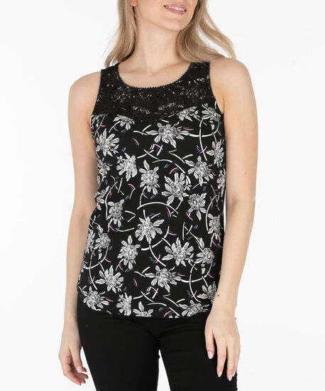 Crochet Trim Sleeveless Knit Top, Black/Pearl/Iced Pink, hi-res