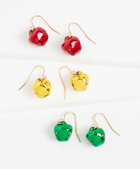 Jingle Bell Earring 3-Pack, Gold/Green/Red, hi-res