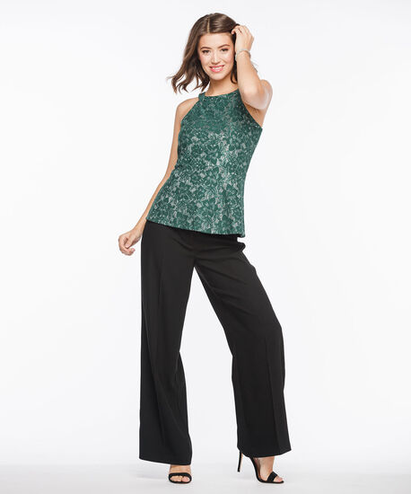 Sleeveless Lace Sparkle Peplum Top, Deep Green Sparkle, hi-res