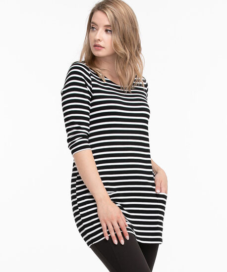 Pocketed 3/4-Sleeve Tunic Top, Black/White Stripe, hi-res