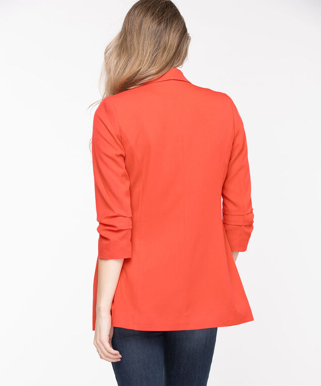 Open Front Soft Blazer, Poppy Red