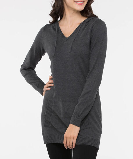 Hooded V-Neck Pullover Sweater, Mid Heather Grey, hi-res