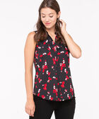 Sleeveless Button-Front Collared Shirt, Black/Hibiscus/Pearl, hi-res