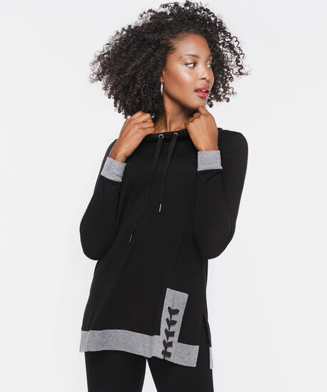 Lace-Up Funnel Neck Tunic, Black/Light Heather Grey, hi-res