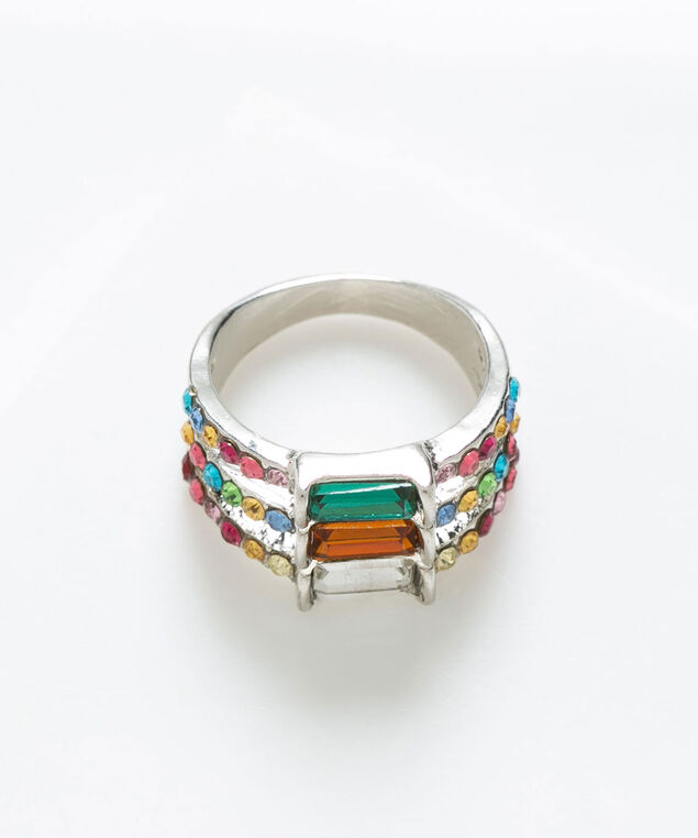 Rainbow Crystal Ring, Green/Gold/Rhodium